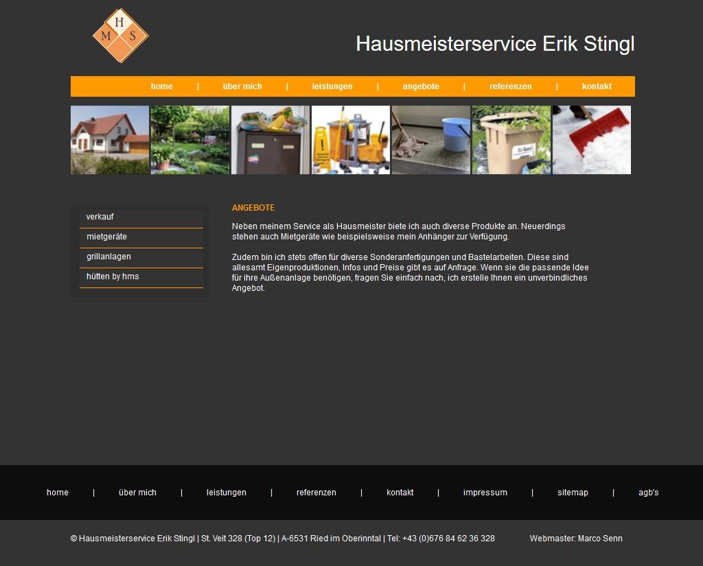 Screenshot alte Website von Hausmeister Erik Stingl
